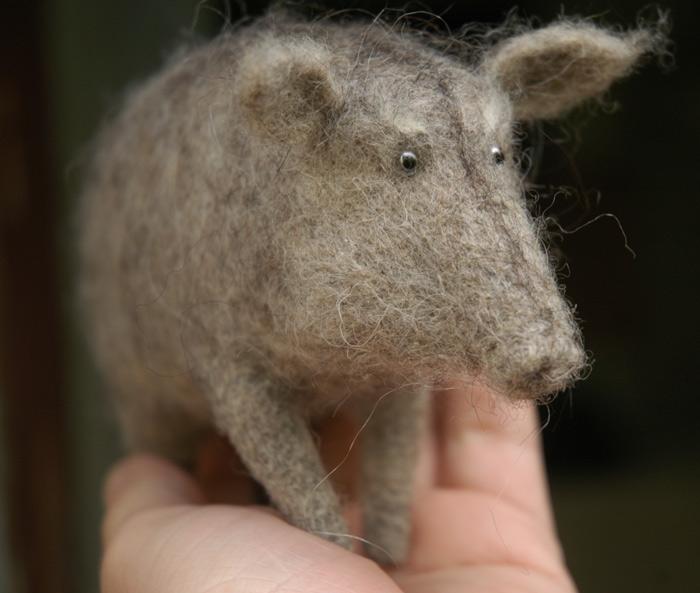 needle felted boar