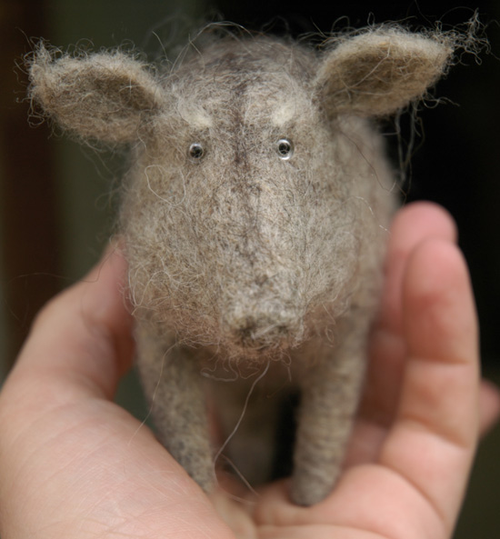 old boar, needle felted