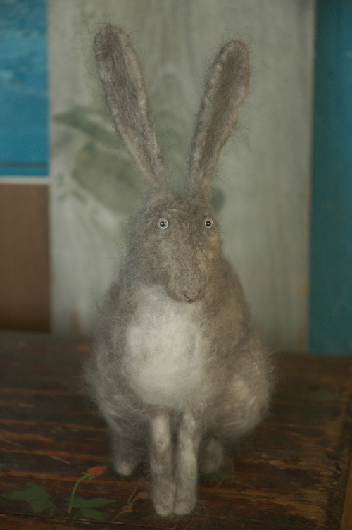 hare needle felted from the down of Angora rabbits